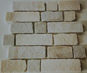 Mosaik Fliese Schiefer Naturstein Brick weiß MOS34-0102
