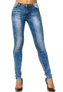 Damen Denim Jeans Hose Skinny Stretch Röhre Pants mit Glitzer Strass Steinen 5 Pocket Design, Farben:Dunkelblau, Größe:46
