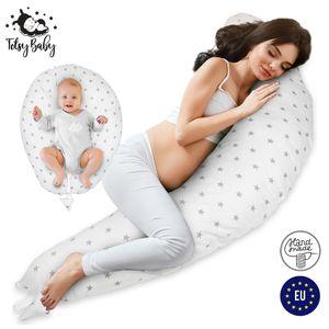 Stillkissen Schwangerschaftskissen zum Schlafen Pregnancy Pillow Seitenschläferkissen Lagerungskissen für Baby Weiß mit grauen Sternen