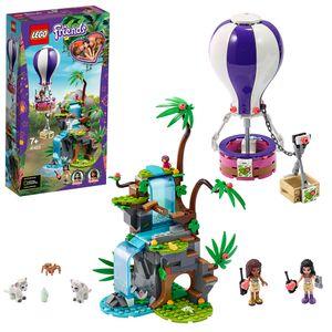 LEGO 41423 Friends Tiger-Rettung mit Heißluftballon, Dschungel-Rettungs-Spielset mit Andrea, Emma und Tierfiguren