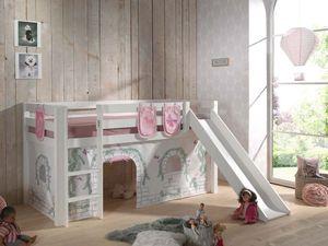 Pino Spielbett mit Rutsche 90x200 cm Weiß Birdy, Matratze:Basic