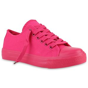 Mytrendshoe Damen Sneakers Stoffschuhe Sportschuhe Freizeit Schnürer 816741, Farbe: Pink, Größe: 38
