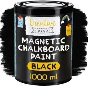 Creative Deco Magnetisch Schwarz Wandfarbe Kreidefarbe Tafelfarbe | 1000ml | 2 m² Effizienz mit 3 Schichten | Für Wand, Holz, Metall, Glas | Wasserbasis | Aussenbereich Kreideschreiben und Zeichnen
