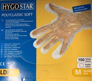 100 HYGOSTAR Polyclassic Soft Einmalhandschuhe Handschuhe, LDPE POLYCLASSIC SOFT  Größe M