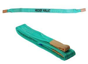 2 Tonnen Tragfähigkeit 2 Meter Länge Hebegurt Rundschlinge Hebeband Bergegurt aus Polyster mit Endschlaufen für Kran, Abschleppen Grün