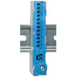 Nullleiter-Klemme für Normschiene, 12-polig, mit STECKKLEMMEN, blau