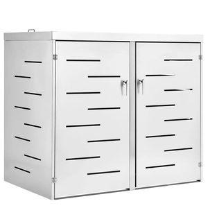 Juskys 2er Mülltonnenbox Arel - Mülltonnenverkleidung abschließbar & wetterfest für 2 x 240L Tonnen – Müllbox aus Edelstahl mit Schiebedach – silber