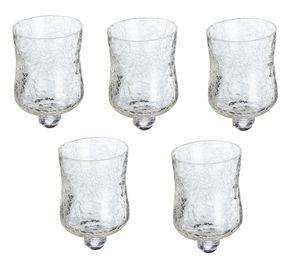5 x Glasaufsatz für Kerzenständer Windlicht Crackle Design