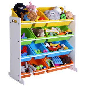 SONGMICS Kinderregal 12 Kästen mehrfarbig für Spielzeug Kinderzimmerregal Spielzeugaufbewahrung Spielzeugregal GKR04W