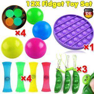 Melario 12 Stücke Fidget Sensory Toys Autismus ADHS SEN Pop It Fidget Stressabbau Spielzeug Push Pop Bubble Toys Zappelspielzeug aus Mesh Marmor Squeeze Bean Fidget Toy Luminous Sticky Ball