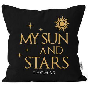 Kissen-Bezug Liebe Moon of my life/ my sun and stars personalisierbar eigene Namen Liebeserklärung Geschenk Freund/Freundin Moonworks® Sun Personalisiert schwarz unisize
