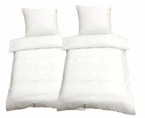 4 tlg Mikrofaser Bettwäsche 135x200 Weiß Uni Einfarbig Bettbezug Garnitur Set