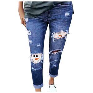 Damen Jeans Schneemann Print Ripped Jeans Plus Size Hose Größe:XL,Farbe:Blau