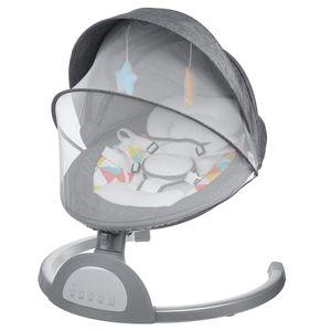 MECO Babywippe Babyschaukel Elektrisch mit bluetooth Musik Automatische Schaukelwippe mit Fernbedienung, Grau