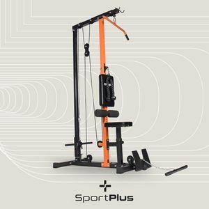 SportPlus Latzugturm, Seilzugsystem mit Umlenkrollen, Latzugstation, Latzugstange, Trizepsseil, Bizepsstange, bis 100kg