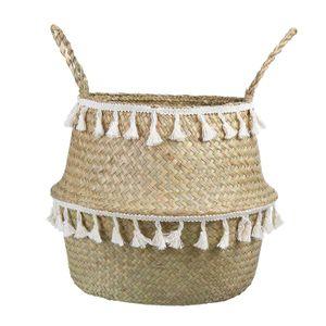 Natürliche Seegras Lagerung Korb Handgemachte Bauch Korb mit Dekorative Pompom faltbare Woven Korb mit Griff für Wäsche, spielzeug oder Pflanzer Größe L.