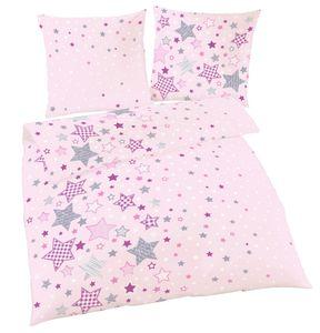 Sterne Bettwäsche in rosa 80x80 + 135x200 cm · Mädchen-Bettwäsche in Fein-Biber - 100% Baumwolle