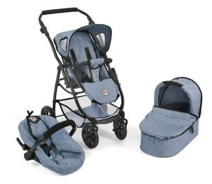 Bayer Chic 2000 3 in 1 Kombi Puppenwagen EMOTION ALL IN - Farbe: Jeans blue; 637 50