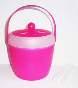 EISEIMER mit Zange Tragegriff Deckel Eisbehälter Eiswürfeleimer Eiswürfelbehälter 73 (Pink)