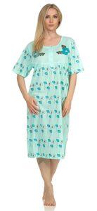 Damen Nachthemd Sleepshirt Nachtwäsche mit Blumen, Grün L