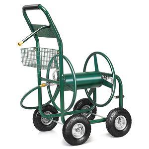 COSTWAY Schlauchwagen Gartenschlauchwagen, Schlauchaufroller mit Korb, Schlauchhalter Metall, Schlauchtrommel Gruen
