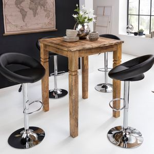 WOHNLING Bartisch 80 x 80 x 110 cm Vintage Massiv-Holz Küchenbartisch | Design Landhaus Stehtisch |  Hochtisch Shabby-Chic aus Mango Holz