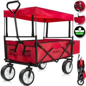Bollerwagen/Handwagen faltbar mit abnehmbarem Dach rot