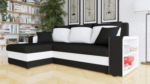 Mirjan24 Ecksofa Fano, Design, Eckcouch, Couch mit Zwei Bettkasten und Schlaffunktion, L-Form, Seite Universal, vom Hersteller (Alova 04 + Soft 017)