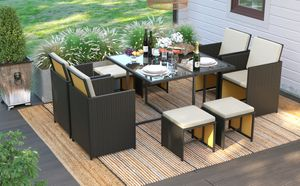 SONGMICS Gartenmöbel aus Polyrattan, 9er Set, Gartentisch mit Hartglasplatte, 4 Stühle und 4 Hocker, mit Kissen, platzsparend schwarz-beige GGF009B01