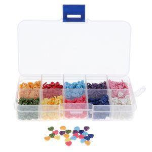 1000x Bunte Herzknöpfe Puppenknöpfe Kinderknöpfe Buttons mit Box, aus Plastik Als bilder gezeigt