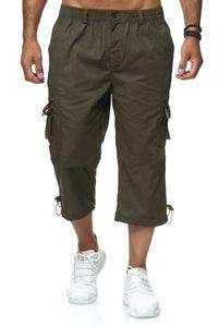 Herren 3/4 Cargo Shorts Freizeit Hose Trekking Pants mit Seitentaschen, Farben:Dunkelgrün, Größe Shorts:L
