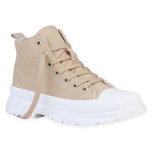 Giralin Damen Stiefeletten Schnürstiefeletten Schnürer Blockabsatz Schuhe 836213, Farbe: Beige, Größe: 40
