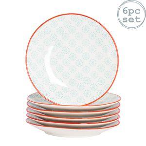 Nicola Spring 6 Stück Hand bedruckten Seite Platten - Japanische Art Porzellan Nachtischbrot Plates - Turquoise - 18cm