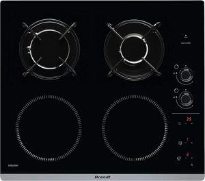 BRANDT BPI6413BM - Kombination Induktions- / Gasherd - 4 Bereiche - B 51 x T 58 cm - Glasbeschichtung - Schwarz