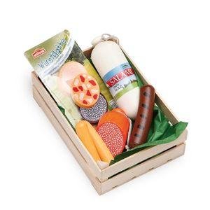Erzi Sortiment in der Holzsteige Wurstwaren, Spielzeug-Lebensmittel, Kaufladenzubehör