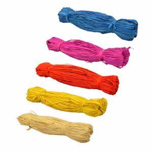 Creleo - Bast Raffia 5er Set gelb pink rot blau creme