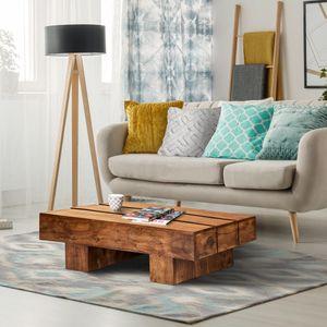 WOMO-DESIGN Couchtisch Lincoln 100x45x30 cm, rechteckig, Braun, Massivholz Akazienholz, Landhaus-Stil, Beistelltisch Kaffeetisch Wohnzimmertisch Sofatisch Loungetisch Holztisch Tisch für Wohnzimmer