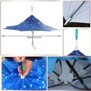 Outdoor-Dach Hut Kopfkappe Für Das Fischen Camping Sonne Regen Blau Wandern Externes Blau und Internes Silber