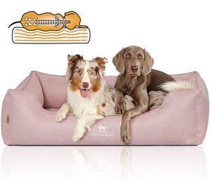 Knuffelwuff Orthopädisches Hundebett Luisa aus Velours mit feinem Handwebcharakter Sunshine Edition XL 105 x 75cm Rosa
