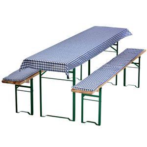 Auflagen-Set für Bierzeltgarnitur Blau-Kariert 3-teilig Tischdecke 240 x 70 cm für 50 cm breite Biertische und 2 gepolsterte Bankauflagen 220 x 25 cm