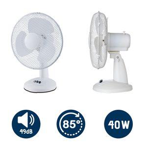 Tischventilator Ventilator 40W Luftkühler Lüfter Oszillierend Weiß
