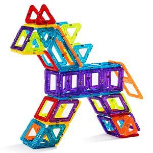 Magnetische Bausteine Set 106 Teile, Magnete Bauklötze Set, Konstruktion Blöcke Bausatz für Kinder, Magnetspielzeug Magformers Kreativ Bunt, Pädagogisches Lernspielzeug inkl. Riesenrad Büchlein