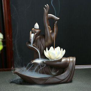 Räuchergefäß Rückfluss Weihrauchbrenner Halter Buddha Hand Weihrauch + 10 Kegeln