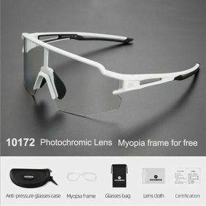 ROCKBROS Photochrome Fahrradbrille Polarisierte Brille Radbrille Herren/Damen Weiß