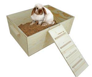 Elmato 12090 Buddelkiste Buddelbox Sandbad mit Leiter und 5kg Sand, 53x38x21cm