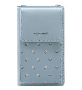 Handy Umhängetasche Damen Schultertasche Kunstleder Handytasche Smartphones bis 6 Zoll 8 Kartenfächer, Farbe:Hellblau