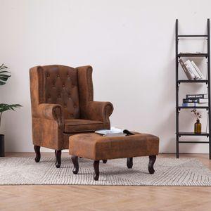 Hochwertigen Chesterfield-Sessel Relaxsessel und Fußhocker Braun Wildleder-Optik