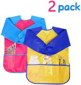 2 Stück Malschürze Kinder,Malkittel Bastelschürze 2-7 Jahre,Wasserdichte Kinder Schürze für Malerei mit Langarm Drei Taschen (Gelb & Rosa)