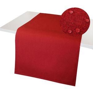 LEINEN Optik Tischläufer GERADE 40x100 ROT doppelt genäht