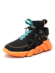 Herren Mesh Stoff Sneakers laufen Freizeitschuhe Outdoor Wanderschuhe fliegen High-Top Socken Schuhe,Farbe: Schwarz,Größe:43